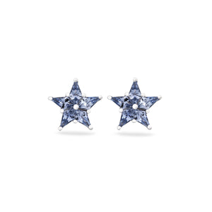 Tiffany & Co Platinum Blue Sapphire Star Stud Earrings