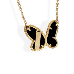 Van Cleef & Arples 18K Yellow Gold Diamond & Onyx Butterfly Necklace Length: 16""