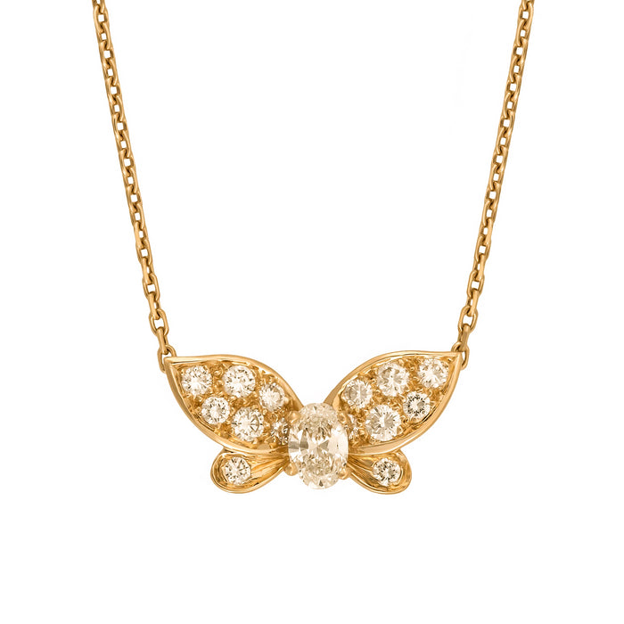 Van Cleef & Arpels 18K Yellow Gold Diamond Butterfly Necklace Length 15.5 inches