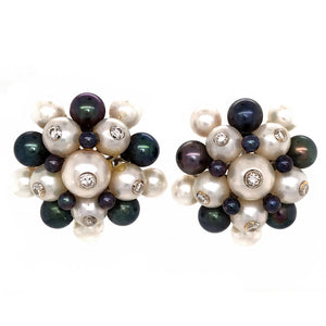 Trianon 18k White Gold Black and White Pearls with Diamond Earrings