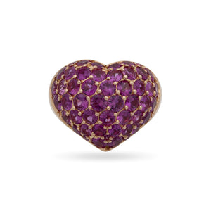 Chopard 18K Rose Gold Ruby Full Heart Ring Size: 7