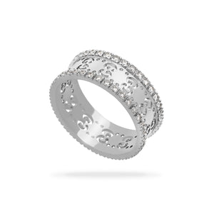 Gucci 18K White Gold Diamond Icons Ring Size: 5.75