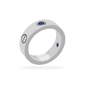 Cartier 18K White Gold Sapphire Love Ring Size: 5.75