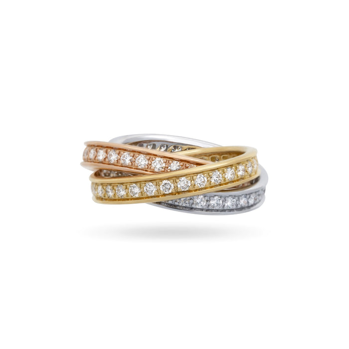 Cartier 18K White, Yellow and Rose Gold Diamond Trinity Ring Size 5.75