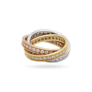Cartier 18K White, Yellow and Rose Gold Diamond Trinity Ring Size: 5