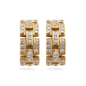 Cartier 18K Yellow Gold Maillon de Cartier Diamond Earrings