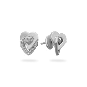 Cartier 18K White Gold Diamond Interlocking Hearts Earrings