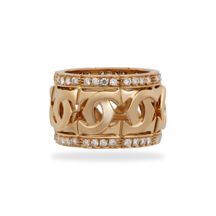 Cartier 18K Yellow Gold Diamond Double C Ring Size 5