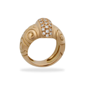 Estate Zolotas Greek 18K Yellow Gold Diamond Swirls Ring Size 6.5