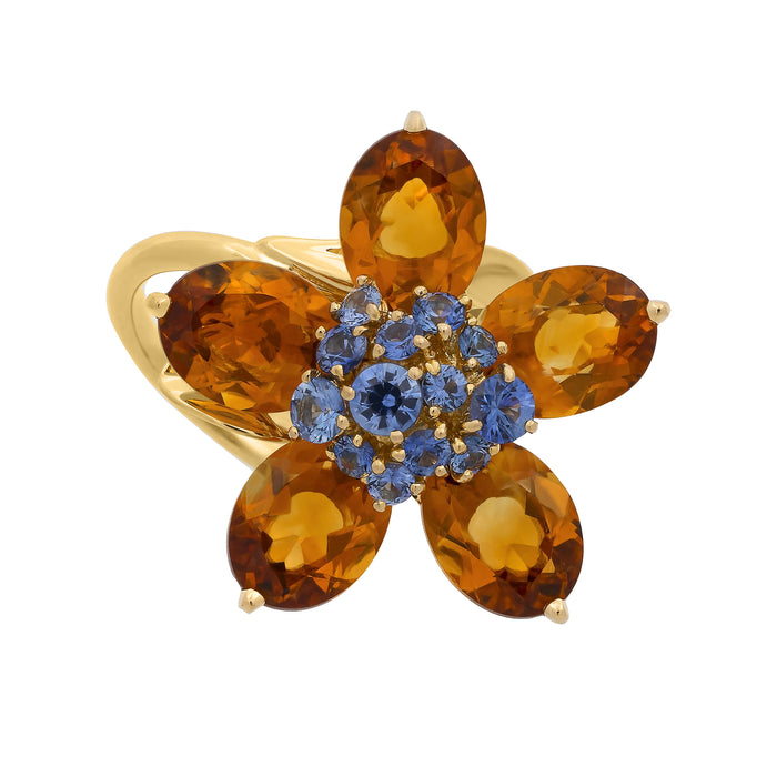 Van Cleef & Arpels 18K Yellow Gold Citrine & Sapphire Flower Ring Size 5.5