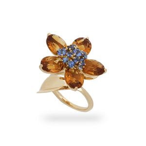 Van Cleef & Arples 18K Yellow Gold Citrine & Sapphire Flower Ring Size: 5.5