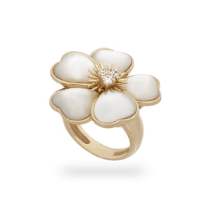 Van Cleef & Arples 18K Yellow Gold Diamond & Mother of Pearl Floral Ring Size: 6.5