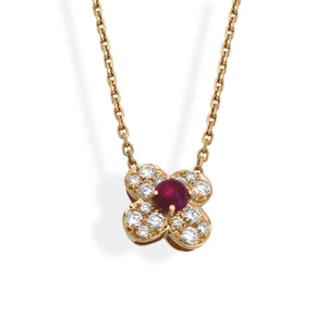Van Cleef & Arpels 18K Yellow Gold Diamond & Ruby Trefle Necklace Length: 15""