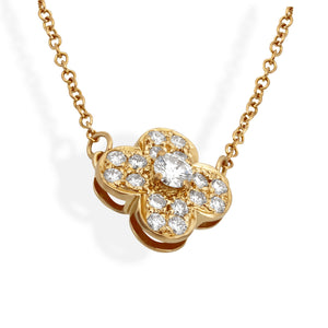 Van Cleef & Arpels 18K Yellow Gold Diamond Trefle Necklace Length: 16""