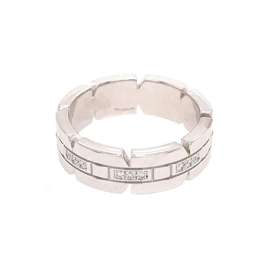 Cartier 18K White Gold Tank Francaise Ring Size 6