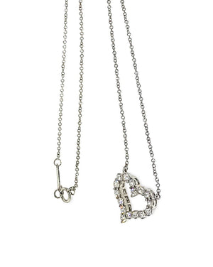 Tiffany & Co. Platinum Sentimental Diamond Heart Necklace Length: 16""
