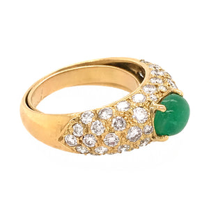 18k Yellow Gold Diamond and Emerald Cabochon Ring