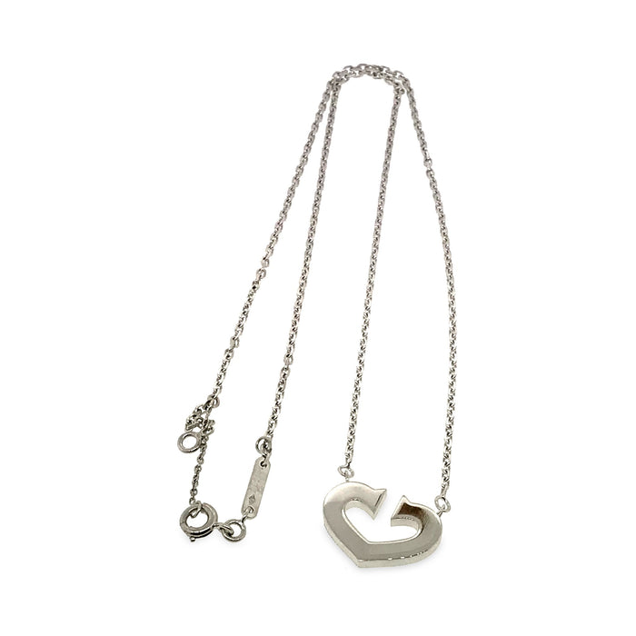Cartier 18K White Gold C Necklace Length: 16""