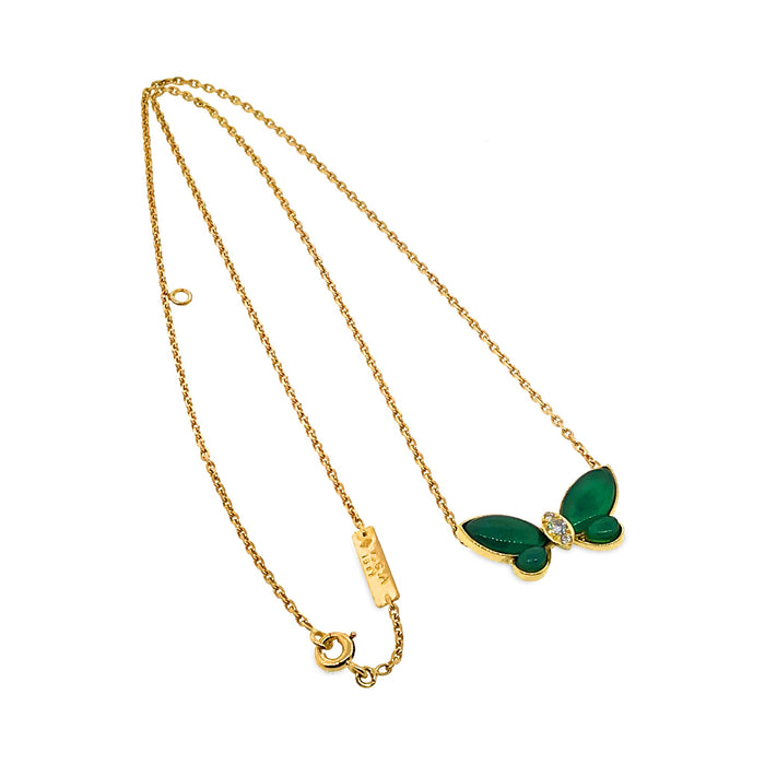 Van Cleef & Arpels 18K Yellow Gold Green Chalcedony Diamond Necklace Length: 16""