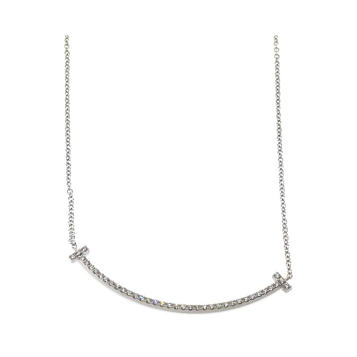 Tiffany & Co. 18K White Gold Diamond Mini T Smile Pendant Necklace Length: 16""