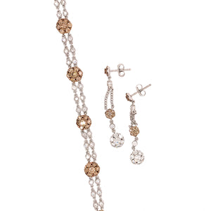 Set 18k White Gold Chocolate and Vanilla Diamond Jewelry