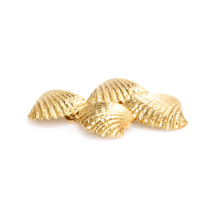 Longmire 18K Yellow Gold Seashell Cufflinks