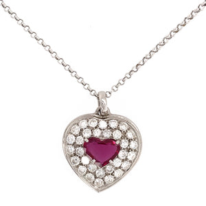 18k White Gold Ruby and Diamond Heart Pendant Necklace