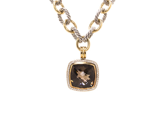 Estate David Yurman Heavy 18K Gold and Sterling Silver Chain with Albion Diamond Pendant Necklace