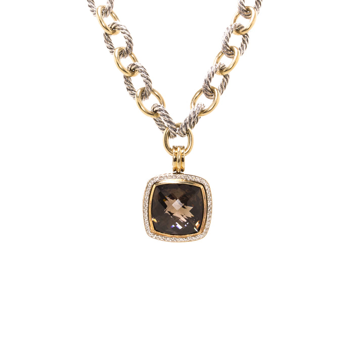 David Yurman Albion 18K Gold and Sterling Silver Chain with Diamond and Smokey Topaz Necklace