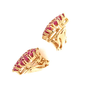 14k Yellow Gold Burmese Ruby and Diamond Heart Earrings