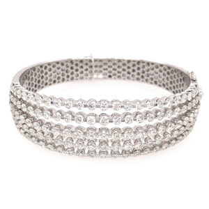 18k White Gold 5 Row Diamond Bangle Bracelet
