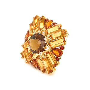 Estate 14K Yellow Gold Madeira Citrine with Diamond Brooch