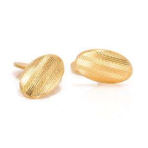 Estate 18K Yellow Gold Oval Links with Pattern Cufflinks