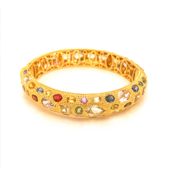 Estate 18K Yellow Gold with Multi-Color Sapphire Bracelet