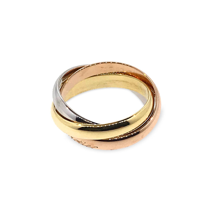 Cartier 18K White , Yellow , Rose Gold Trinity Ring Size 6.25