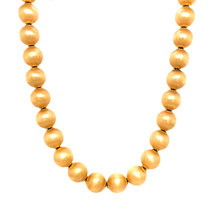 Great Bohemian look, 18Kt Yellow Gold Bead Necklace
