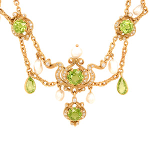 18k Yellow Gold Peridot, Pearl and Diamond Vintage Necklace