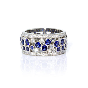 Tiffany & Co. Platinum  Cobblestone Diamond and Sapphire Band Ring