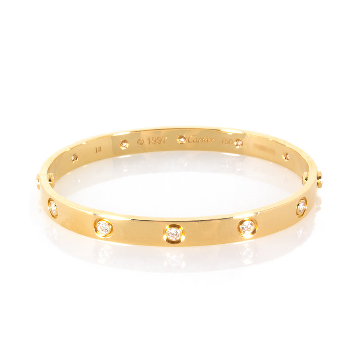 Cartier 18K Yellow Gold 10 Diamonds Love Bracelet Size: 18cm
