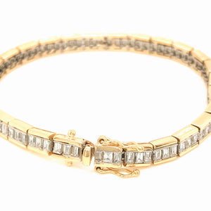 Estate 18k Two-Tone Baguette Diamond Bracelet