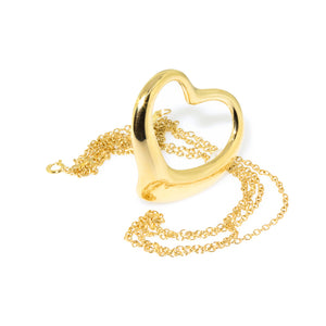 Tiffany & Co. 18K Yellow Gold Large Elsa Peretti Open Heart Pendant Necklace