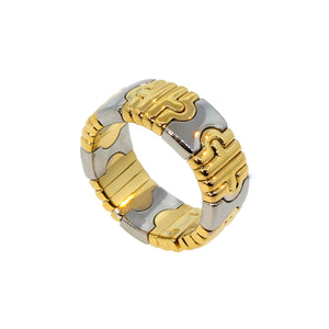 Bvlgari 18K Yellow Gold and Stainless Steel Parentesi Ring Size: 7.25