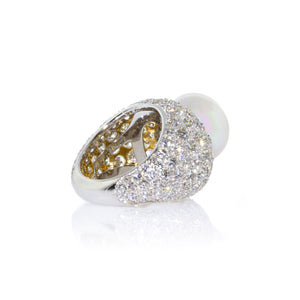 Van Cleef & Arpels Platinum Pearl and Diamond Pave Ring