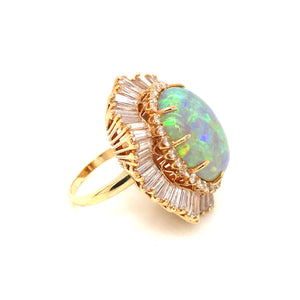 Estate 18k Yellow Gold Opal and Diamond Ballerina Style Ring
