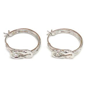 14k White Gold Diamond Hoops Earrings