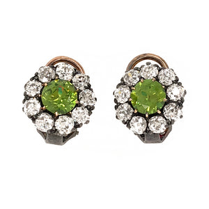 Silver Over Gold Rare Demantoid Garnet and Diamond Clip-on Earrings