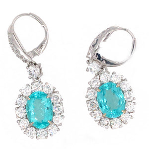 Certified Rare Blue Paraiba and Diamond Earrings
