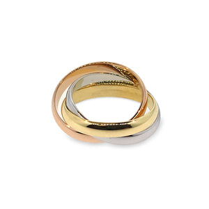 Cartier 18K White , Yellow , Rose Gold Trinity Ring Size: 6.25