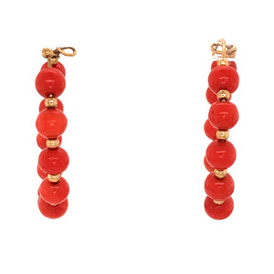 18k Yellow Gold Coral Bead Hoops Wire Earrings