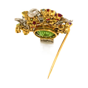 18k Yellow Gold Tutti Fruti Bouquet Multi Colored Gemstones Brooch